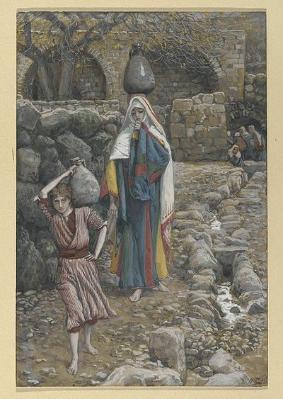 Jesus and His Mother at the Fountain.jpg(Jésus et sa mère à la fontaine)Luke 2:51-52