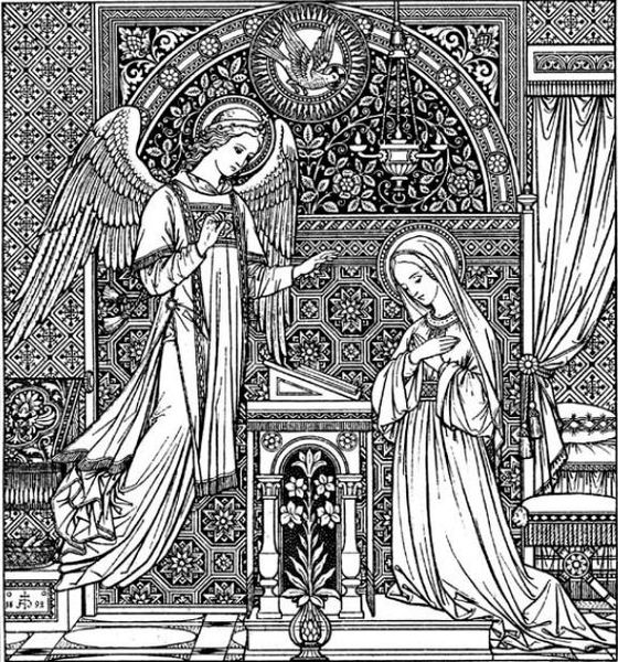 Line Drawing Virgin Mary : File annunciation g the work of god s children