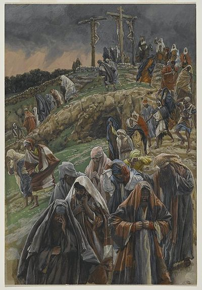 The Crowd Left Calvary While Beating Their Breasts(La foule quitte le calvaire en se frappant la poitrine)Luke 23:48